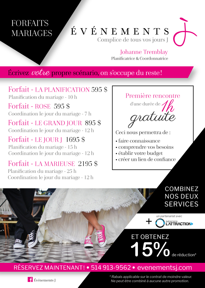 Forfaits mariages planificatrice